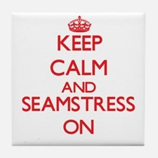 Keep Calm and Seamstress ON Tile Coaster