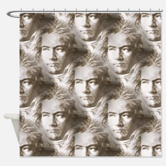 Beethoven Portrait Pattern Shower Curtain
