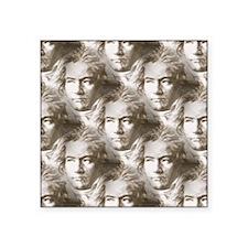 "Beethoven Portrait Pattern Square Sticker 3"" x 3"""
