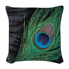 peacock black square Woven Throw Pillow