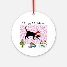 Santa Kitty Happy Holidays Ornament (Round)