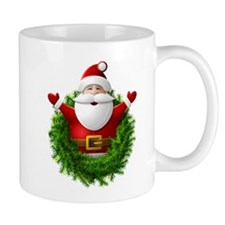 Santa Claus Pops Out of Christmas Wreat Mug
