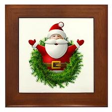 Santa Claus Pops Out of Christmas Wrea Framed Tile