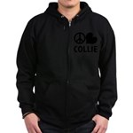 FIN-peace-love-collie.png Zip Hoodie (dark)