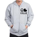 FIN-peace-love-collie.png Zip Hoodie
