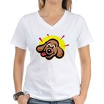 happy-dachshund.png Women's V-Neck T-Shirt