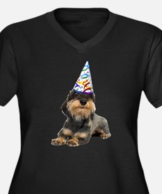 Wirehaired Dachshund Party Women's Plus Size V-Nec