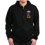Gordon Setter Santa Zip Hoodie (dark)