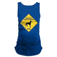 Italian Greyhound Crossing Sign Maternity Tank Top