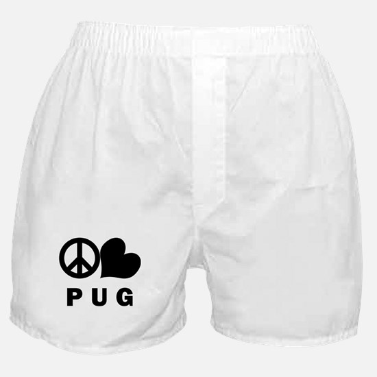 FIN-peace-love-pug.png Boxer Shorts