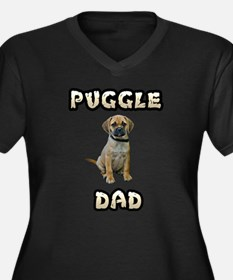 Puggle Dad Women's Plus Size V-Neck Dark T-Shirt
