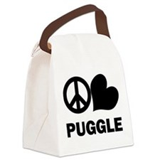 Peace Love Puggle Canvas Lunch Bag