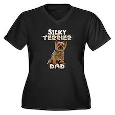 Silky Terrier Dad Women's Plus Size V-Neck Dark T-