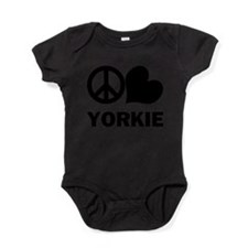 FIN-peace-love-yorkie.png Baby Bodysuit
