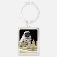 Sexy Pug Playing Chess Keychains