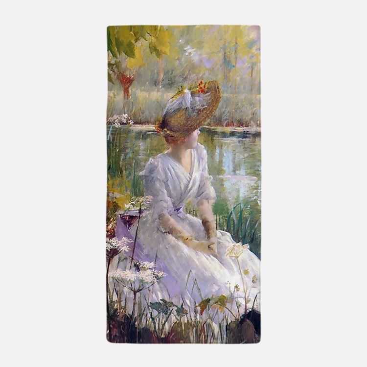 Victorian Day By A River Beach Towel