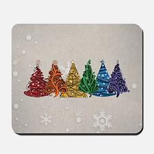 Rainbow Christmas Trees Mousepad