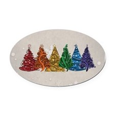 Rainbow Christmas Trees Oval Car Magnet
