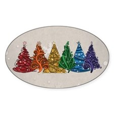 Rainbow Christmas Trees Decal