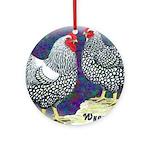 Silver Wyandotte Chickens Ornament (Round)