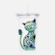 Smiling Painted Cat wi Acrylic Double-wall Tumbler