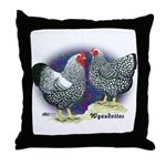 Silver Wyandotte Chickens Throw Pillow
