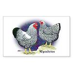 Silver Wyandotte Chickens Rectangle Sticker