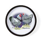 Silver Wyandotte Chickens Wall Clock