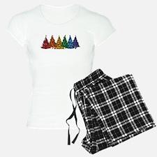 Rainbow Christmas Trees Pajamas