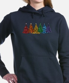 Rainbow Christmas Trees Women's Hooded Sweatshirt