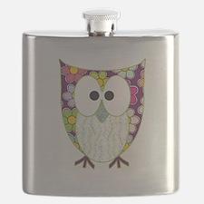Floral Patchwork Owl Flask