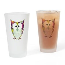 Floral Patchwork Owl Drinking Glass