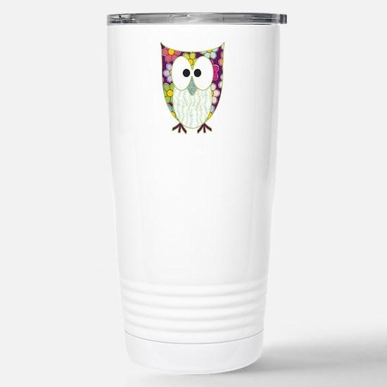 Floral Patchwork Owl Travel Mug