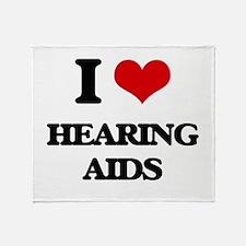 I Love Hearing Aids Throw Blanket