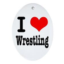 I Heart (Love) Wrestling Oval Ornament
