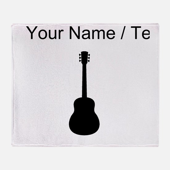 Custom Acoustic Guitar Silhouette Throw Blanket