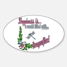 Happiness is a Dragonfly Oval Decal