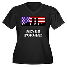 9-11: Never Forget Women's Plus Size V-Neck Dark T