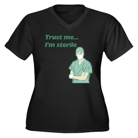 Trust Me I'm Sterile Women's Plus Size V-Neck Dark