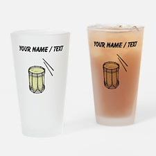 Custom Drum And Sticks Drinking Glass