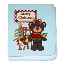 Merry Christmas Teddy Bear baby blanket