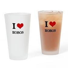 I Love Hobos Drinking Glass