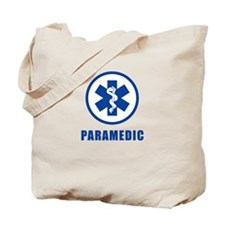 Paramedic Blue on WHite Tote Bag