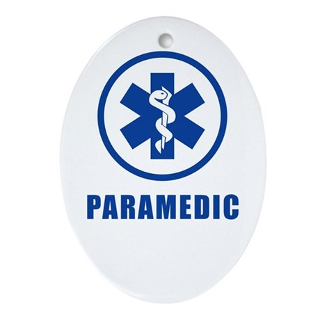 Paramedic Blue on WHite Oval Ornament