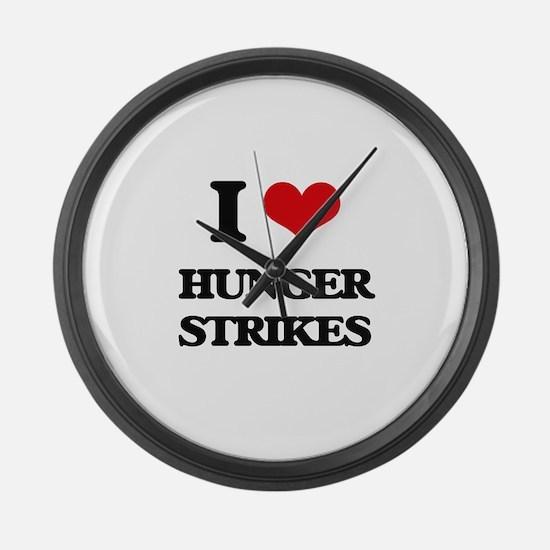 I Love Hunger Strikes Large Wall Clock