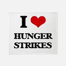 I Love Hunger Strikes Throw Blanket