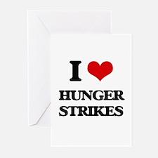 I Love Hunger Strikes Greeting Cards