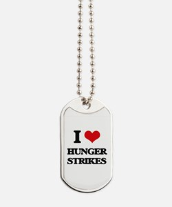 I Love Hunger Strikes Dog Tags