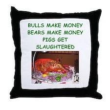 bulls and bears Throw Pillow