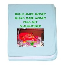 bulls and bears baby blanket